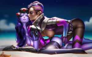 Rating: Explicit Score: 45 Tags: bodysuit breasts feet fingering liang_xing nipples no_bra nopan open_shirt overwatch pantyhose pussy pussy_juice sombra thighhighs torn_clothes uncensored wet widowmaker yuri User: mash