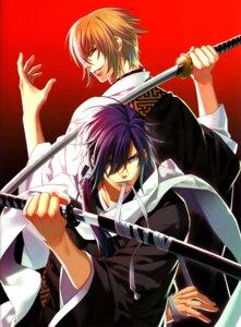 Rating: Safe Score: 16 Tags: hakuouki kazama_chikage kazuki_yone male saitou_hajime saitou_hajime_(hakuouki) sword User: Radioactive