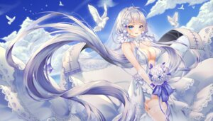 Rating: Safe Score: 63 Tags: azur_lane cleavage dress illustrious_(azur_lane) mellozzo no_bra stockings thighhighs wedding_dress User: Mr_GT