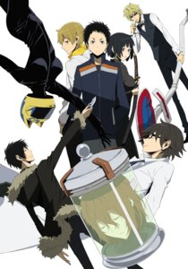 Rating: Safe Score: 20 Tags: bodysuit celty_sturluson digital_version durarara!! heiwajima_shizuo kida_masaomi kishitani_shinra megane orihara_izaya ryuugamine_mikado smoking sonohara_anri sword weapon User: blooregardo