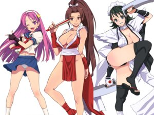 Rating: Questionable Score: 70 Tags: areola asamiya_athena ass cleavage crossover fatal_fury iroha japanese_clothes king_of_fighters maid ninja no_bra nopan pantsu pink_doragon psycho_soldier samurai_spirits seifuku shiranui_mai someoka_yusura sword thighhighs User: abominable