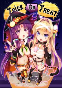 Rating: Questionable Score: 63 Tags: animal_ears bikini_top cleavage erect_nipples halloween naked_ribbon pasties rancy tail tattoo thighhighs torn_clothes witch User: Mr_GT