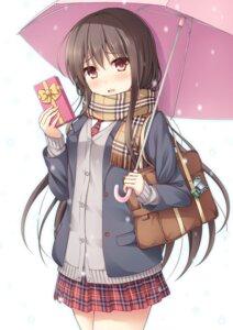 Rating: Safe Score: 55 Tags: nakamura_sumikage seifuku umbrella valentine User: Mr_GT