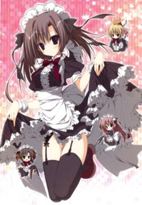 Rating: Questionable Score: 39 Tags: chibi ebiten garter_belt hiromatsu_rikei inugami_kira kanamori_hakata maid nopan skirt_lift stockings thighhighs todayama_izumiko todayama_kyouko User: crim