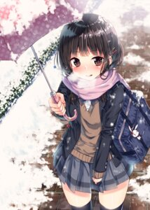 Rating: Safe Score: 48 Tags: sakuragi_ren seifuku sweater thighhighs umbrella User: Mr_GT