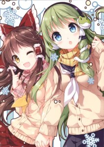 Rating: Safe Score: 24 Tags: hakurei_reimu kochiya_sanae mochizuki_shiina seifuku sweater touhou yuri User: kiyoe
