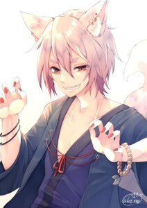 Rating: Safe Score: 9 Tags: animal_ears chita_(ketchup) japanese_clothes male signed tail User: RyuZU