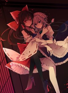 Rating: Safe Score: 57 Tags: baocaizi hakurei_reimu heels izayoi_sakuya maid pantyhose touhou User: Mr_GT