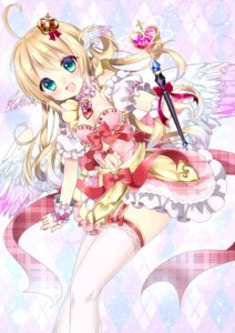 Rating: Safe Score: 58 Tags: cleavage dress shanghai_bisu stockings thighhighs weapon wings User: KazukiNanako