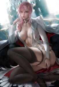 Rating: Questionable Score: 58 Tags: final_fantasy final_fantasy_xiii garter heels lightning no_bra open_shirt pantsu sakimichan see_through stockings thighhighs User: Gh_st