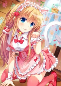 Rating: Safe Score: 65 Tags: animal_ears dress maid moe2015 nekomimi sen_kagura tail thighhighs User: KazukiNanako