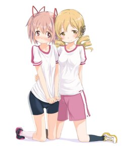 Rating: Safe Score: 42 Tags: abe_kanari bike_shorts gym_uniform kaname_madoka puella_magi_madoka_magica tomoe_mami User: Nekotsúh