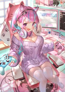 Rating: Safe Score: 36 Tags: animal_ears cleavage dress headphones hololive minato_aqua nekomimi no_bra rin_(rin31153336) sweater thighhighs User: Mr_GT