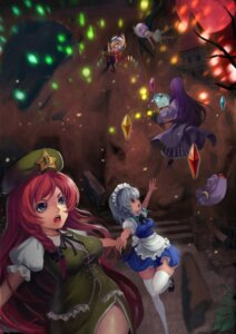 Rating: Safe Score: 12 Tags: flandre_scarlet hong_meiling izayoi_sakuya patchouli_knowledge remilia_scarlet thighhighs touhou wings zqf User: Mr_GT