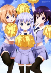 Rating: Safe Score: 83 Tags: cheerleader gochuumon_wa_usagi_desu_ka? hoto_cocoa kafuu_chino rio_(megami) tedeza_rize thighhighs User: drop