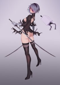 Rating: Questionable Score: 57 Tags: ass cleavage dress eyepatch heels nier_automata pantsu sword thighhighs torn_clothes yorha_no.2_type_b yun_lin User: mash