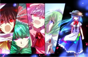 Rating: Safe Score: 12 Tags: alice_margatroid hakurei_reimu hinanawi_tenshi kagiyama_hina kuro_mame remilia_scarlet ruukoto touhou wings User: SlenderMan