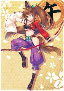 Rating: Safe Score: 13 Tags: animal_ears asian_clothes bandages cleavage ichi_makoto tail underboob weapon User: Mr_GT