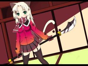 Rating: Safe Score: 26 Tags: akino_sora animal_ears nekomimi tail thighhighs wallpaper User: charunetra