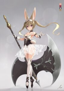 Rating: Questionable Score: 6 Tags: animal_ears bunny_ears cleavage icchi leotard see_through tagme tail thighhighs weapon User: hiroimo2