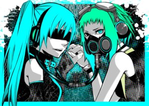Rating: Safe Score: 9 Tags: drahtpuppe gumi hatsune_miku headphones heterochromia vocaloid User: Yuffie