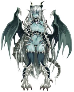 Rating: Explicit Score: 17 Tags: bottomless breasts horns kenkou_cross maebari monster_girl no_bra pussy_juice tail thighhighs wings User: NotRadioactiveHonest