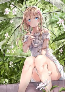Rating: Safe Score: 92 Tags: dress hmw_(pixiv7054584) see_through signed summer_dress tagme umbrella wet_clothes User: hiroimo2