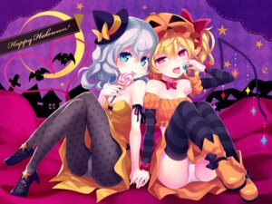 Rating: Safe Score: 42 Tags: cleavage flandre_scarlet halloween heels jpeg_artifacts komeiji_koishi komeiji_satori minamura_halki pantsu pantyhose pointy_ears remilia_scarlet touhou wallpaper User: Urameshiya