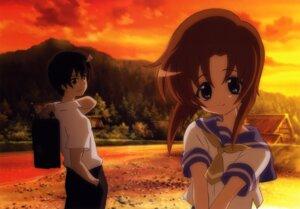 Rating: Safe Score: 12 Tags: higurashi_no_naku_koro_ni maebara_keiichi ryuuguu_rena sakai_kyuuta seifuku User: charly_rozen