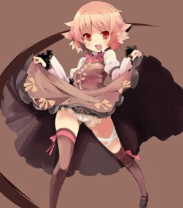 Rating: Questionable Score: 36 Tags: animal_ears hiruma_andon mystia_lorelei pantsu skirt_lift thighhighs touhou User: Mr_GT