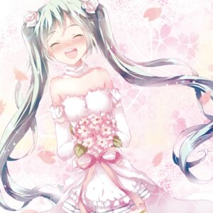 Rating: Safe Score: 25 Tags: cleavage dress hatsune_miku tottsuan vocaloid wedding_dress User: charunetra