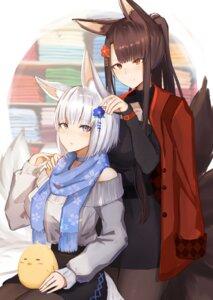 Rating: Safe Score: 25 Tags: akagi_(azur_lane) animal_ears azur_lane dress kaga_(azur_lane) kitsune pantyhose pnatsu sweater tail User: Dreista