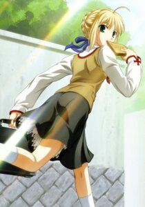 Rating: Safe Score: 24 Tags: fate/stay_night ishihara_megumi saber seifuku User: Radioactive