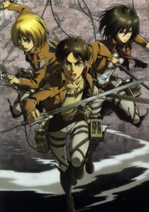 Rating: Safe Score: 20 Tags: armin_arlelt eren_jaeger mikasa_ackerman shingeki_no_kyojin sword uniform weapon User: Radioactive