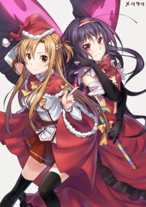 Rating: Safe Score: 26 Tags: accel_world asuna_(sword_art_online) christmas crossover kuroyukihime sword_art_online thighhighs touwa_nikuman wings User: demon2