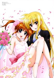 Rating: Safe Score: 40 Tags: crossdress dress fate_testarossa heels mahou_shoujo_lyrical_nanoha okuda_yasuhiro takamachi_nanoha wedding_dress yuri User: drop