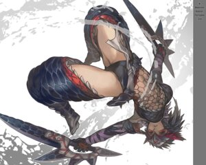 Rating: Questionable Score: 70 Tags: aoin armor fishnets monster_hunter naruga pantsu thighhighs wallpaper weapon User: hobbito