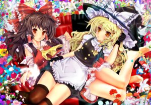 Rating: Safe Score: 21 Tags: hakurei_reimu kirisame_marisa teruru thighhighs touhou User: blooregardo