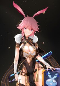 Rating: Safe Score: 18 Tags: amomo animal_ears benghuai_xueyuan bunny_ears chinadress garter honkai_impact sword weapon yae_sakura_(benghuai_xueyuan) User: Mr_GT