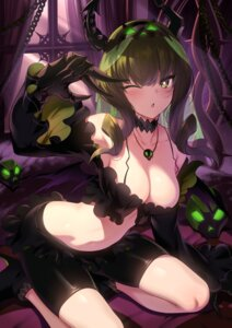 Rating: Questionable Score: 99 Tags: bike_shorts black_rock_shooter cleavage dead_master heels horns no_bra open_shirt rogia User: Mr_GT
