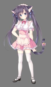 Rating: Safe Score: 34 Tags: amairo_chocolata animal_ears cabbage_soft heels korie_riko maiba_nana maid nekomimi tail thighhighs transparent_png waitress User: moonian