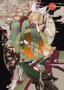 Rating: Safe Score: 17 Tags: kagamine_len kagamine_rin kimono lian_yao vocaloid User: charunetra
