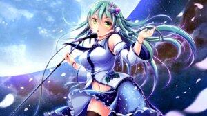 Rating: Safe Score: 25 Tags: hiro_(725611) kochiya_sanae skirt_lift thighhighs touhou wallpaper User: Mr_GT