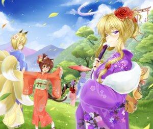 Rating: Safe Score: 18 Tags: animal_ears chen hakurei_reimu izayoi_sakuya kimono nekomimi okitakung remilia_scarlet tail touhou yakumo_ran yakumo_yukari User: Mr_GT