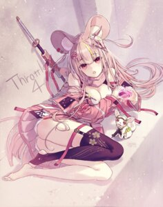 Rating: Safe Score: 10 Tags: animal_ears bra breast_hold cleavage garter open_shirt sanbasou stockings sword thighhighs valentine User: Mr_GT