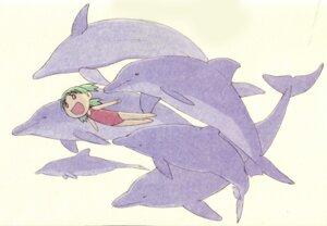 Rating: Safe Score: 9 Tags: azuma_kiyohiko koiwai_yotsuba paper_texture swimsuits yotsubato! User: Radioactive