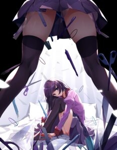 Rating: Safe Score: 32 Tags: bakemonogatari cqingwei monogatari_(series) seifuku senjougahara_hitagi skirt_lift thighhighs User: Mr_GT
