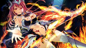 Rating: Questionable Score: 60 Tags: armor blood chobipero cleavage game_cg hagall_brunhild shin_shirogane_no_soleil skyfish sword thighhighs torn_clothes weapon User: donicila