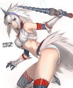 Rating: Safe Score: 35 Tags: bra horns kirin monster_hunter pantsu tetsu_(kimuchi) thighhighs weapon User: nphuongsun93