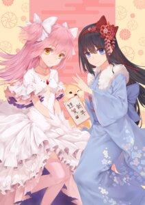 Rating: Safe Score: 33 Tags: akemi_homura cleavage dress kaname_madoka kimono misaka76 puella_magi_madoka_magica thighhighs User: Mr_GT